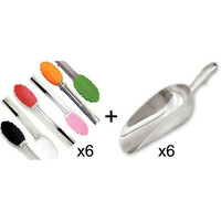 6 x Candy Lolly Mini Scoop AND 6 x Mini Tongs