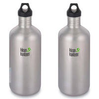2 X KLEAN KANTEEN CLASSIC 64oz 1900ml STAINLESS BPA FREE Water Bottle SAVE !