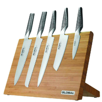 New Global TAKUMI 6pc Bamboo Magnetic Knife Block Set Knives 6 Piece Japanese