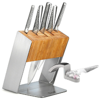 Global KATANA Global Katana 6Pc Knife Block Set Knives & MINOSHARP Sharpener