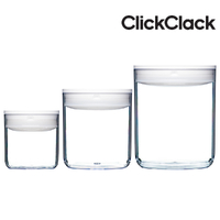 New CLICKCLACK 3 Piece Pantry Small Round Set Air Tight Containers 3pc