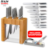 GLOBAL IKASU X 10 Piece Knife Block Set 10pc & 3 Stage Minosharp