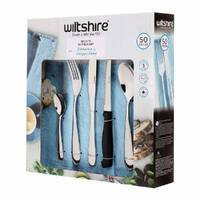 WILTSHIRE 50pc BRONTE Stainless Steel 50 Piece Cutlery Set W/ Steak Knives
