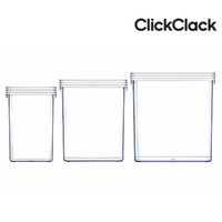New CLICKCLACK 3 Piece Basic Large Box Set Air Tight Containers 3pc