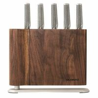 New Global UKU 6pc Walnut Magnetic Knife Block Set Knives 6 Piece Japanese