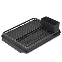 New Brabantia Dish Drying Rack Kitchen Organiser w/ Utensils Holder + Drip Tray Dark Grey