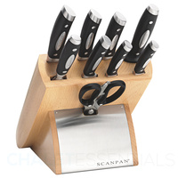 NEW Scanpan Classic Euro 10 Piece Cutlery Kitchen Knife Block Set 18173