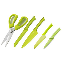GREEN SCANPAN Spectrum Set of 5 Cooks Bread Santoku Utility Shears GREEN