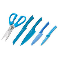 BLUE SCANPAN Spectrum Set of 5 Cooks Bread Santoku Utility Shears BLUE **BNIP**