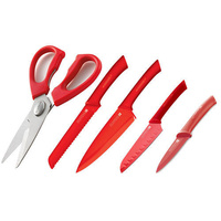 RED SCANPAN Spectrum Set of 5 Cooks Bread Santoku Utility Shears RED **BNIP**