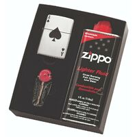 NEW ZIPPO LUCKY ACE LIGHTER GIFT BOX WITH FLUIDS + FLINTS FREE POSTAGE 95411GP