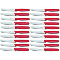 VICTORINOX STEAK KNIVES ROUND TIP X 20 KNIVES 205.0831 - RED COLOUR *BEST PRICE*