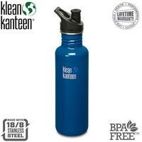 KLEAN KANTEEN 27oz 800ml PLANET Blue BPA FREE WATER BOTTLE
