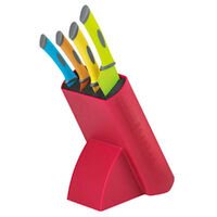 SCANPAN Spectrum COLOUR 5pc Uni Block Knife Set Cooks Bread Santoku Utility 18778