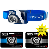 LED LENSER SEO 7R Head Torch Headlamp BLUE 220 Lumens & Bonus Headband