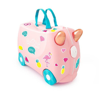 New TRUNKI Ride on Kids Suitcase Luggage Toy Box FLOSSI FLAMINGO