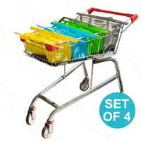 New KARLSTERT Sort & Carry SHALLOW Trolley Bags Set of 4 Reusable Shopping 14212