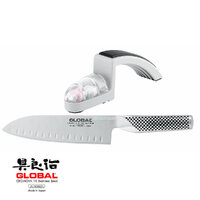 G-48 GLOBAL Santoku Fluted Blade 18cm & Minosharp 2pc Starter Set Stainless Steel 79625 Japan