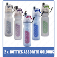 2 x 02 COOL MIST 'N' SIP ARCTIC SQUEEZE 18oz 530ml DRINK BOTTLE ASSORTED COLOURS 02COOL O2COOL