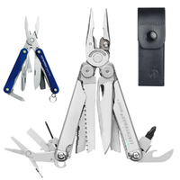 Leatherman WAVE Stainless Steel Multi Tool & Leather Sheath + SQUIRT PS4 Blue *AUTHAUSDEALER*