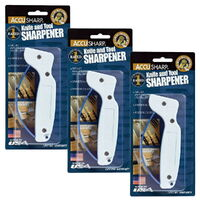 NEW ACCUSHARP 3 Three Pack Knife & Tool Sharpener Pull Thru 47KS Made in USA Kitchen Knives Tools