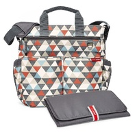 NEW SKIP HOP DUO SIGNATURE NAPPY DIAPER BABY BAG W/ CHANGING MAT - TRIANGLES SKIPHOP