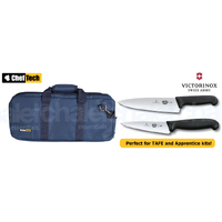 3PC PROFESSIONAL CHEF KNIFE SET BLUE BAG + VICTORINOX COOKS 15CM + 20CM KNIVES