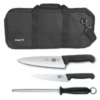 4PC CHEF STARTER KNIFE SET BLK BAG + VICTORINOX COOKS 15CM + 20CM KNIVES + STEEL