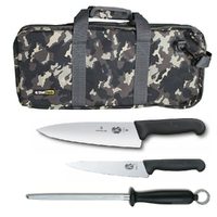 4PC CHEF STARTER KNIFE SET CAMO BAG + VICTORINOX COOK 15CM + 20CM KNIVES + STEEL
