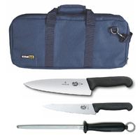 4PC CHEF STARTER KNIFE SET BLUE BAG + VICTORINOX COOK 15CM + 20CM KNIVES + STEEL