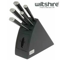 New WILTSHIRE Staysharp Triple Rivet Radius 6pc Knife Block Set Built in Sharpener 41178