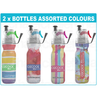 New 2 x 02 COOL MIST 'N' SIP 20oz 590ml DRINK BOTTLE WATERCOLOUR 02COOL O2COOL