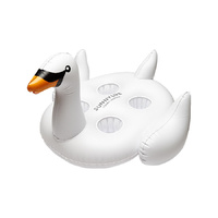 NEW SUNNYLIFE INFLATABLE WHITE SWAN DRINK HOLDER POOL FLOAT TOY HOLDS 4 CUPS GIFT XMAS