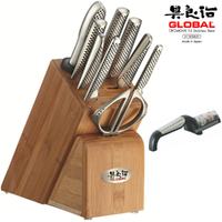 GLOBAL TAKASHI 10 Piece Knife Block Set + Global 2 Stage Sharpener Black 10pc Japanese Knives