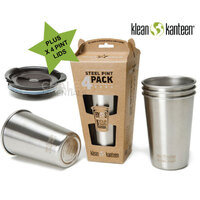 KLEAN KANTEEN 16oz 473ml Stainless Steel Pint Cup 4 Pack +  4 x Pint Lid Stackable