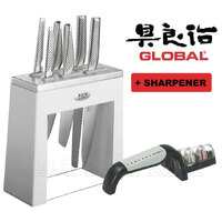 New GLOBAL KABUTO White Shiro 7pc + Sharpener Knife Block Set Japanese Knives