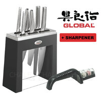 New GLOBAL KABUTO Black 7pc + Sharpener Knife Block Set Japanese Knives