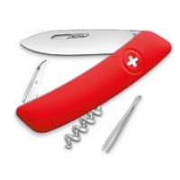New SWIZA Folding Pocket Knife Anti Slip Grip Swiss Army 6 Features RED