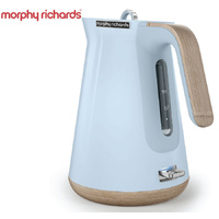 New MORPHY RICHARDS Scandi Aspect BLUE Kettle W/ Wood Trim 100008 Boiler Jug