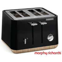 New MORPHY RICHARDS Scandi Aspect BLACK 4 Slice Toaster W/ Wood Trim 240007 Tray