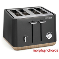 New MORPHY RICHARDS Scandi Aspect TITANIUM 4 Slice Toaster W/ Wood Trim 240006 Tray