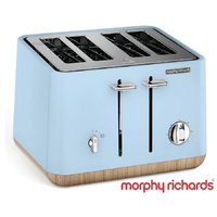 New MORPHY RICHARDS Scandi Aspect BLUE 4 Slice Toaster W/ Wood Trim 240008 Tray