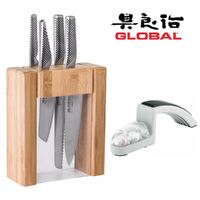 New GLOBAL TEIKOKU 5pc Knife Block Set + Mino Sharpener Japanese Knives