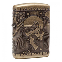 ZIPPO MULTI CUT ANTIQUE BRASS SKULL STEAM PUNK LIGHTER GIFT BOX 99222