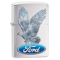 ZIPPO BRUSHED CHROME FORD LOGO EAGLE LIGHTER GIFT BOX 97122