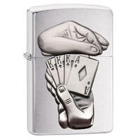 ZIPPO BRUSHED CHROME SLIM FULL HOUSE LIGHTER GIFT BOX 97141