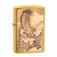 ZIPPO SOARING WHERE EAGLE DARE BRUSHED BRASS LIGHTER GIFT BOX 92854