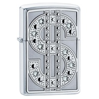 ZIPPO SWAROVSKI BLING EMBLEM HIGH POLISH CHROME LIGHTER GIFT BOX 92904