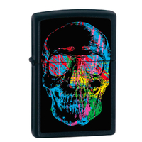 ZIPPO COLOURFUL SKULL BLACK MATT LIGHTER GIFT BOX 98042