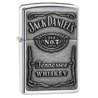 ZIPPO JACK DANIEL'S LABEL PEWTER CHIP HIGH POLISH CHROME LIGHTER GIFT BOX 94237